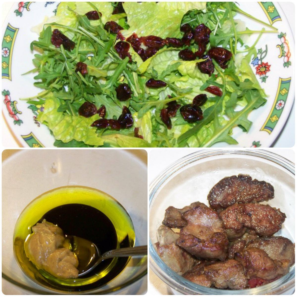 Салат с куриной печенью и клюквой